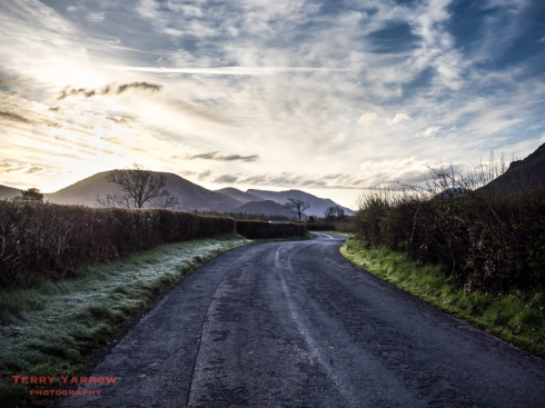 Sunrise and frost on the road to Ennerdale Water