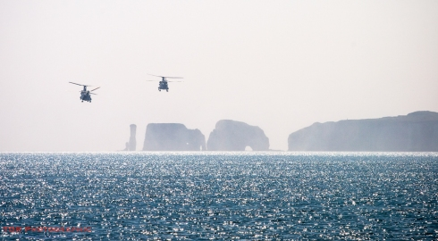 Chinooks over Old Harry Rocks