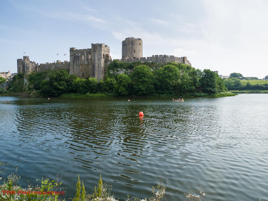 Pembroke Castle across the Carew River